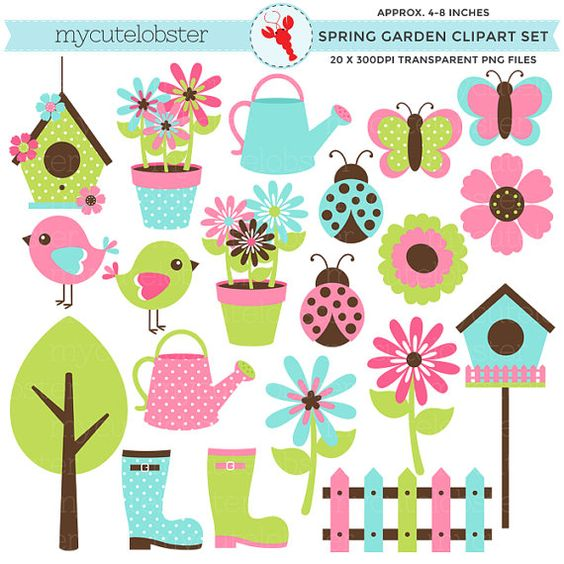 Jardín de primavera Clipart Set - flores, pájaros ...