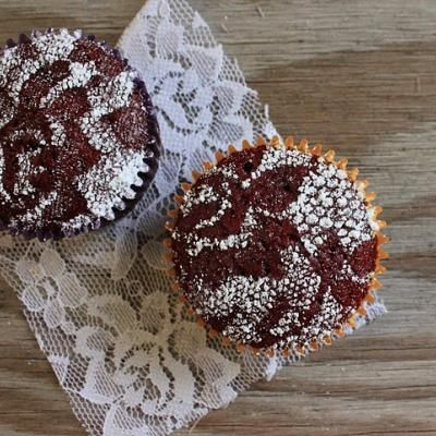 Cover a chocolate cupcake with lace and sprinkle with powdered sugar! adorable!