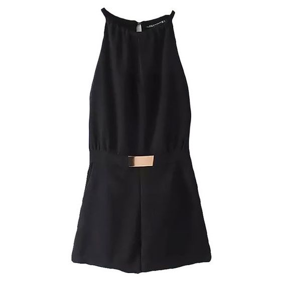 Jolie Halter Neck Playsuit (32 CAD) ❤ liked on Polyvore featuring jumpsuits, rompers, dresses, black, halter top, playsuit romper, halter romper, halter-neck tops and halter rompers