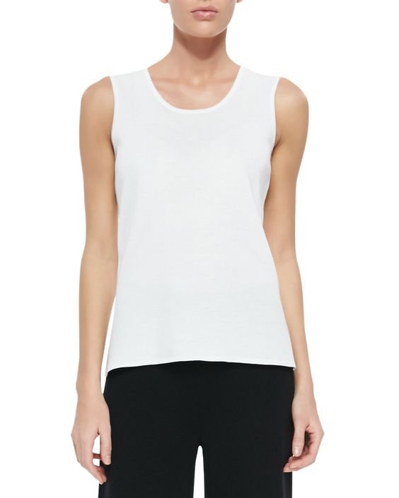 Scoop-Neck Knit Tank, White, Women's, Size: MEDIUM (10/12) - Misook