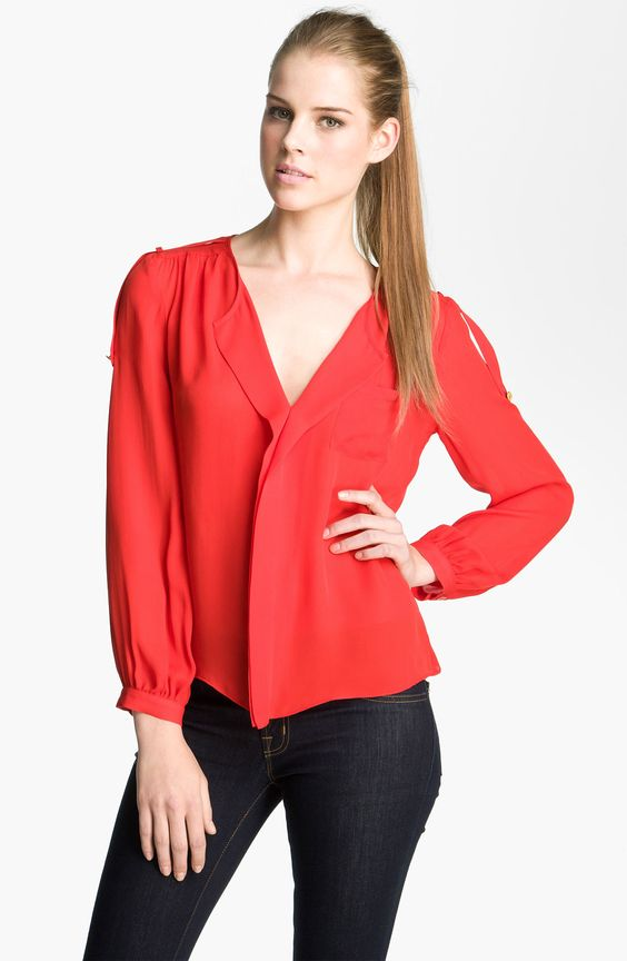 Awesome Red Silk Blouse : Parker Red Vneck Silk Blouse