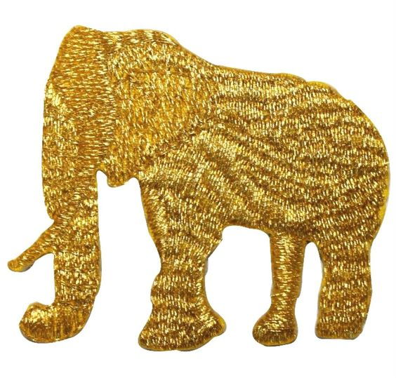 """[Single Count] Custom and Unique (2 1/4""""by 2"""" Inches) Wild Safari Animals African Elephant Iron On Embroidered Applique Patch {Gold}"""
