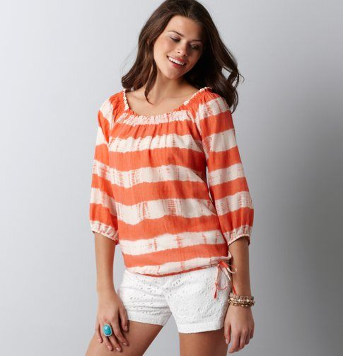 because I love stripes, peasant tops, and a bubble hem...and because you need more than solid shirts