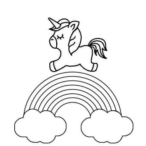 Over The Rainbow Unicorn Outline Drawing In Black White Unicorn Outline Unicorn Coloring Pages Outline Drawings