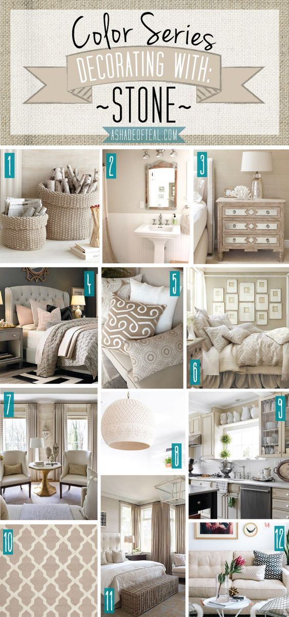 Color Series; Decorating with Stone, Beige, Tan, Sand home décor. | A Shade Of Teal