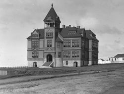 Originally located at the northwest corner of Union and Elm Streets in San Diego, the Middletown Schoolhouse was one of four of San Diego's very large spectacular Victorian schoolhouses built in the 1880's. Original Photo Coons Collection