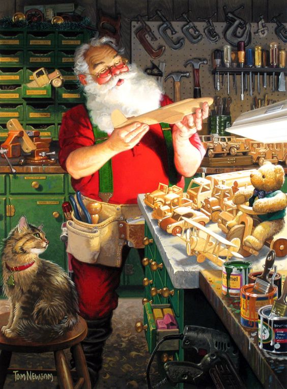 Tom Newsom (b.1944) —  Santa's Wood Shop  (960×1301):