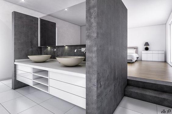 Salle de bain ouverte sur chambre design – lombards | Maison ...
