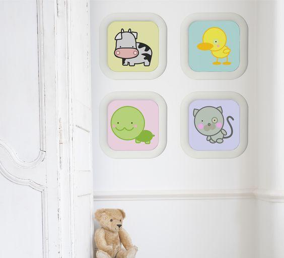 Composición de láminas para decoración de cuarto de bebé de La tienda de dibus