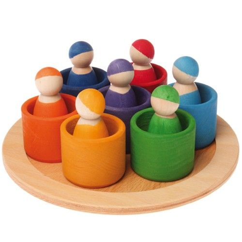 Grimm's Rainbow Wooden Peg Dolls in Bowls. SO CUTE!