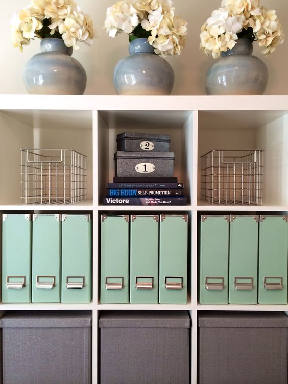 Use Closetmade cube storage units for organizing the office.  Perfectly sized.
