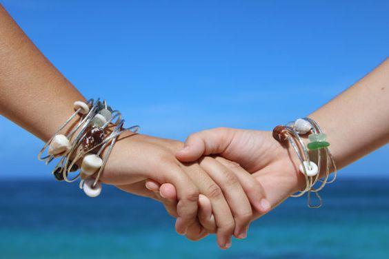 Beach Bangle Bracelet Heavy 12 Gauge by PupukeaGirlVintage on Etsy