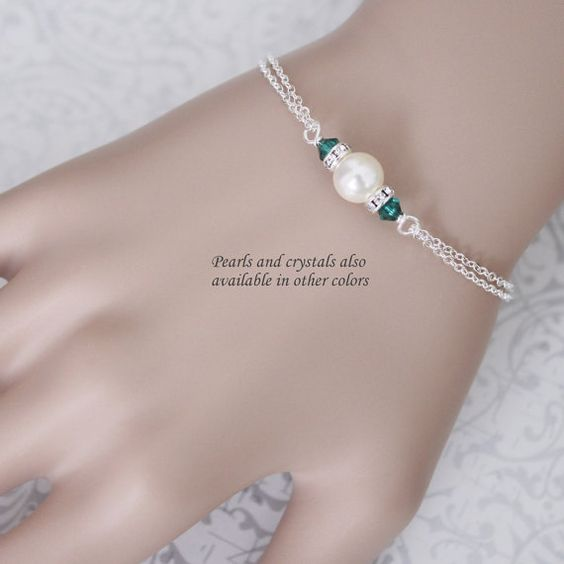 CUSTOM COLOR Swarovski Ivory Pearl and Emerald, Dark Green Crystal Bridesmaid Bracelet, Bridesmaid Gift, Bridesmaid Jewelry