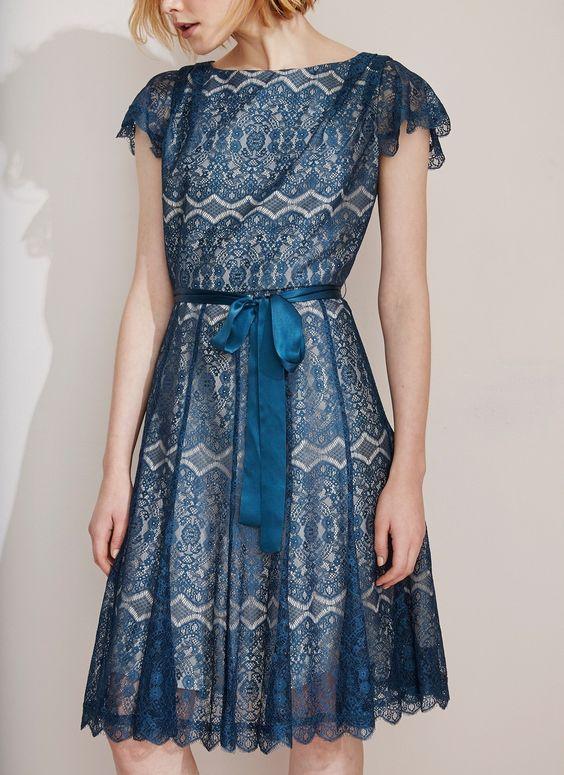 Vestido c ctel de encaje fiesta adolfo dominguez shop for Adolfo dominguez outlet online