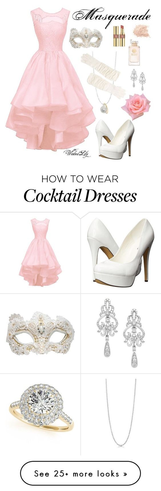 """""""Masquerade-Christine Daae from """"The Phantom of  the Opera"""""""" by le-piano-argent on Polyvore featuring Allurez, BERRICLE, Portolano, Swarovski, Michael Antonio, Yves Saint Laurent, Tory Burch, Wrapped In Love, women's clothing and women's fashion"""