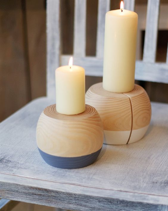 Natural Wooden Candle Holder Home Decor Wedding Table By Aliusy