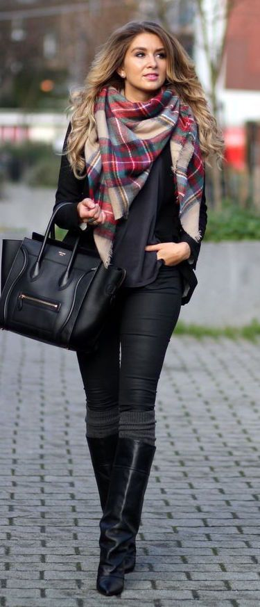 #winter #fashion / black everything + tartan scarf