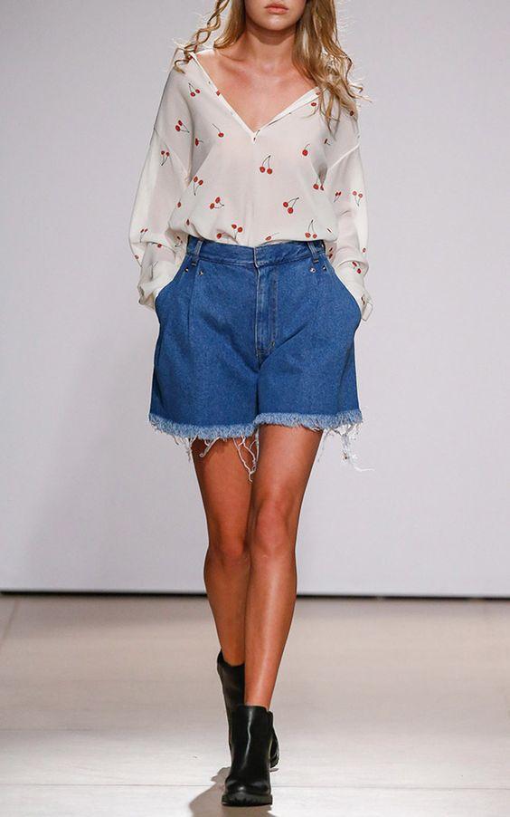 Cherry Print Peasant Sleeve Blouse by KSENIA SCHNAIDER for Preorder on Moda Operandi