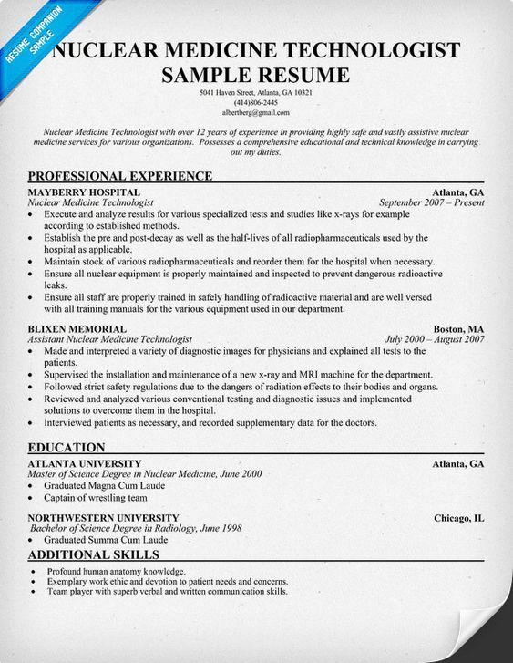 Nuclear Medicine Technologist Resume + Free Resume (http - med tech resume