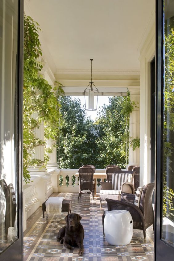 Beautiful front porches and dogs on pinterest for Wrap around verandah