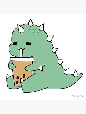 Boba Drinking Dinosaur Coasters Set Of 4 By Ginge297 In 2021 Cute Cartoon Wallpapers Dinosaur Wallpaper Cute Doodles