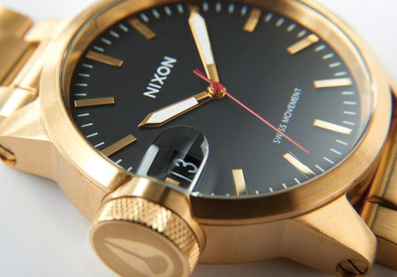 Nixon Chronicle 44 - 44mm stainless steel case - Swiss made 3 hand quartz movement and 100m/10 ATM water resistance - all gold