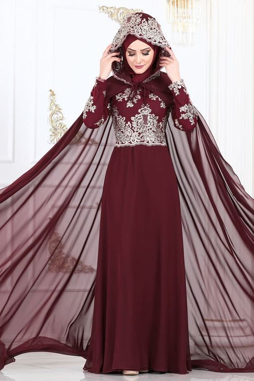 Modaselvim Abiye Kapson Pelerinli Sifon Abiye Ygs6190 Bordo Hijab Wedding Dresses Muslim Dress Hijab Fashion