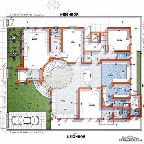خرائط دور ونصف ڤيلا و شقة سكنية في نص الدور الأول مساحة الأرض ٥٠٠ مساحة الدور الأول ٣٢٠ من تصميم معماري Model House Plan Family House Plans Cat House Plans