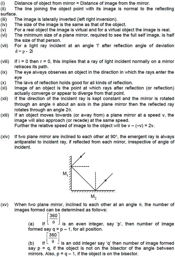 Cbse class 12 physics notes ray optics characteristics for Mirror questions