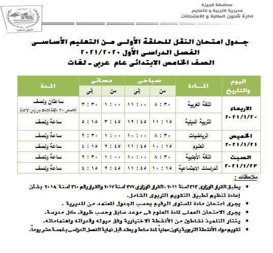 جدول امتحانات الصف الخامس الابتدائي الترم الاول 2020 لجميع المحافظات