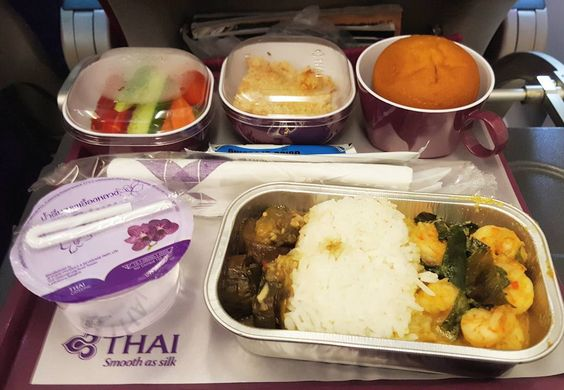 Wondering how the second best #airline for economy class food perform?  This is my #lunch from TG434 #flight originating from Soekarno Hatta International Airport (#CGK) to Suvarnabhumi International #Airport (#BKK). How was it? It was great! I got shrimp and some kind of mushroom on Thai's #jasmine rice complemented with veggie #salad as #appetizer and #apple crumble pie as #dessert. And I fell in love with their #pie! It was damn great!