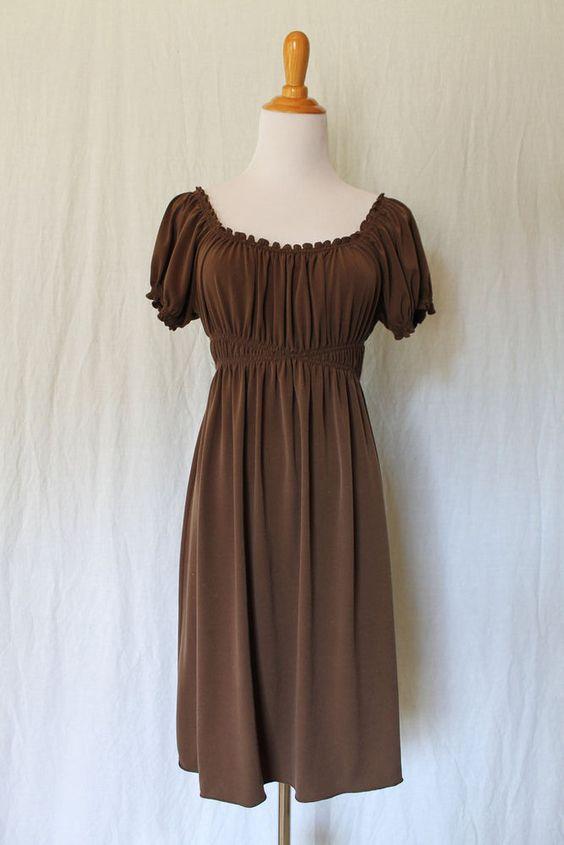Vintage MAX STUDIO C. 2003 Brown Peasant style Boho Cap Sleeve Dress Size XS #MaxStudio #Sheath #Casual