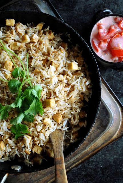 garlic fried rice with crispy tofu + creamy tomato salad. | VEGAN ...