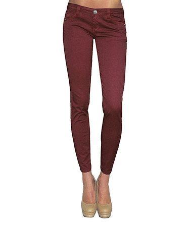 Burgundy Womens Jeans - Jon Jean