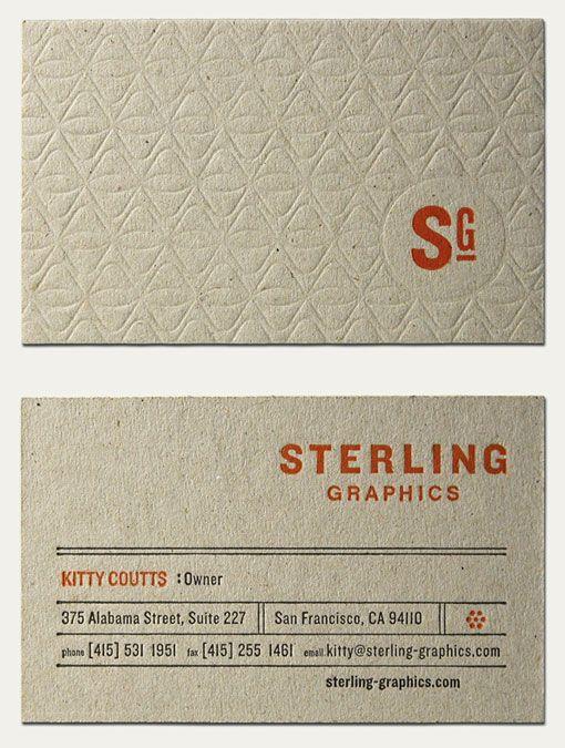 Business Cards: Graphic Design, Business Card Design, Letterpress Pattern, Cool Business Cards, Sterling Graphic, Embossed Business Cards, Businesscard, Letterpress Business Cards