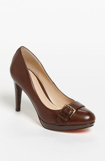 Cole Haan 'Air Chelsea' Buckle Pump in chestnut; Oiled vachetta leather upper with patent platform. For Anniversary sale: $219.90, after sale: $328 | Nordstrom