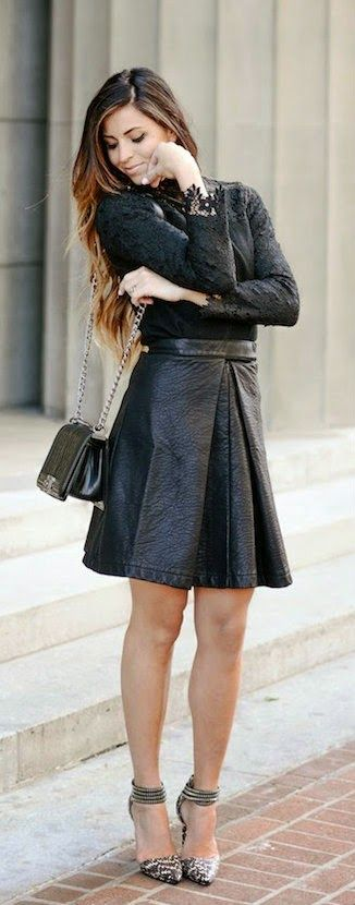 Textured Leather A-line Skirt in Black with Crochet Lace Black Top and Ankle Strap Snake Pumps / Cleverly Your's