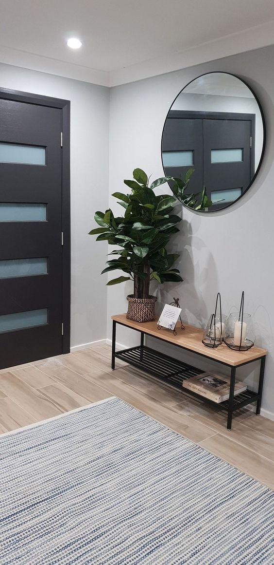 42 Minimal Entryway Decor Ideas With Round Wall Mirror Molitsy Blog Home Decor House Interior Room Decor
