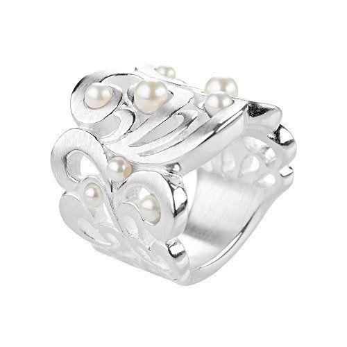 Drachenfels Design Damen-Ring Perlentau Silber Perle Süßwasser-Zuchtperle weiß…