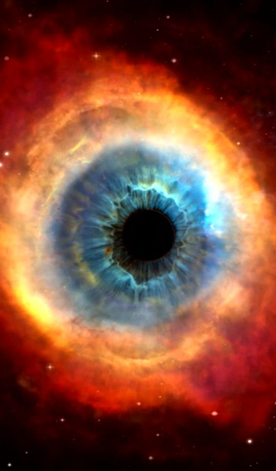 "This is a cool mixing of an eye and the Helix Nebula together. ""Eyes, the windows to life, some are wise to have blinds."""