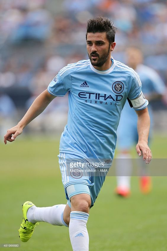 <a gi-track='captionPersonalityLinkClicked' href=/galleries/search?phrase=David+Villa&family=editorial&specificpeople=467566 ng-click='$event.stopPropagation()'>David Villa</a> of New York City during the MLS match between Toronto FC and New York City at Yankee Stadium on July 12, 2015 in New York City.