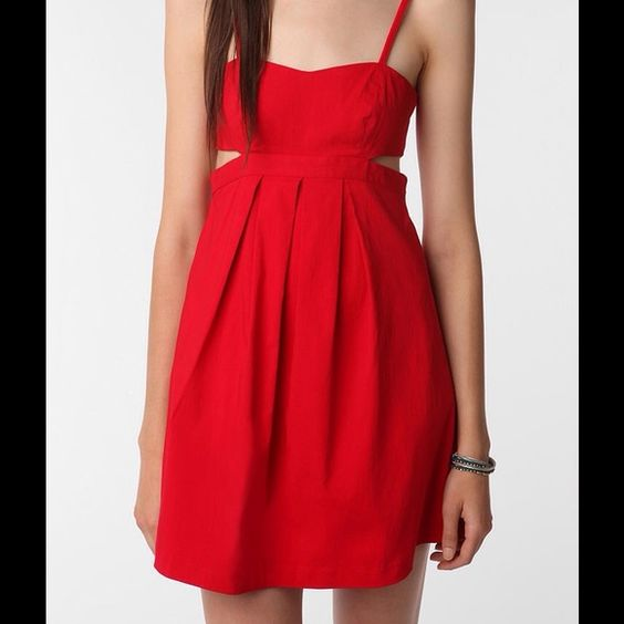 Sparkle and Fade Red Cutout Dress This Urban Outfitters Sparkle and Fade dress was originally purchased on Posh and hasn't been worn since because the length would fit a size two better and I am a four. Urban Outfitters Dresses