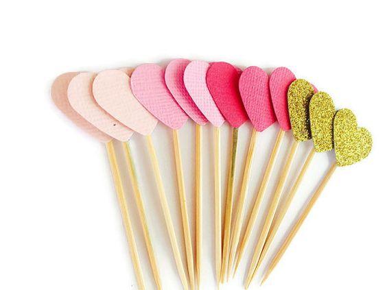 Embouts de cupcake coeur  ombre rose d'or mariage par MiaAndAsh