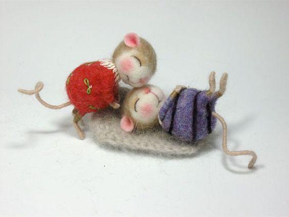 Nadel Felted Tier gekleidet Maus & Bunny Klasse Nadel von barby303