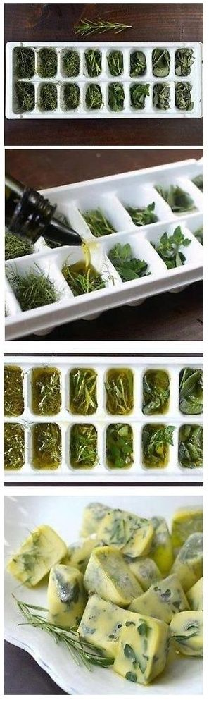 """Herbs in """"frozen"""" olive oil is one of my favorite ways to harvest. The herbs don't get dry , brown and brittle in the same way they do when they get frozen in water. They also retain their scent and flavor much more effectively!"""