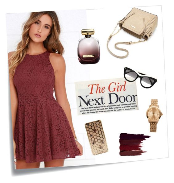 """""""girl next door"""" by nbeaudry ❤ liked on Polyvore featuring Post-It, Lucy Love, ELLE Time & Jewelry, Serge Lutens, Nina Ricci, STELLA McCARTNEY, reddress, Whatsinthebag and girlnextdoor"""