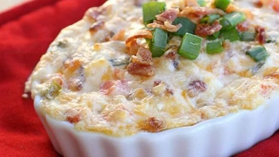 Game Day – Baked BLT Dip – Food Recipes Ingredients  1 pound bacon, cooked 1 cup mayonnaise 1 cup sour cream 8 ounces cream cheese, softened 1 1/2 cups cheddar cheese 1 tomato, seeded and chopped 1/4 cup chopped green onions Additional green onions, cooked bacon, tomato, and lettuce for garnish, if desired