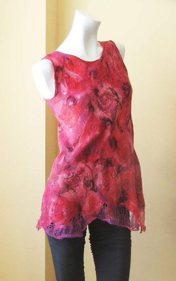 Nuno felted blouse OOAK wool, cotton and silk felted Art to Wear size S Tunic: