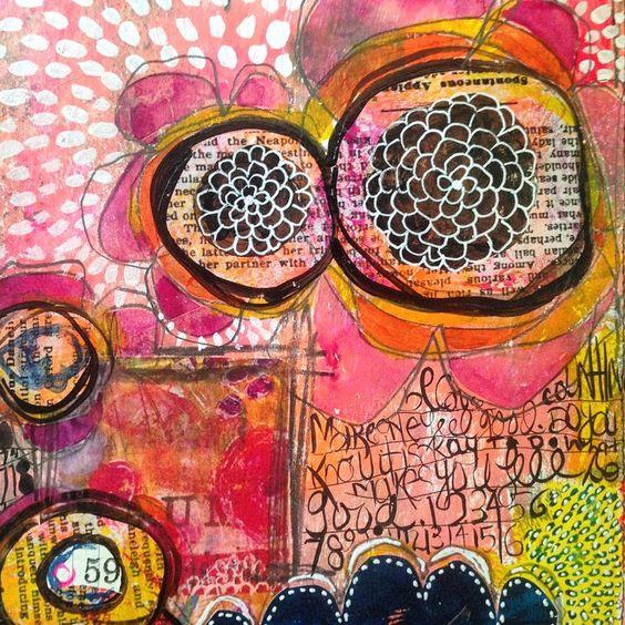 #raemissigman Art journaling over gelli prints.