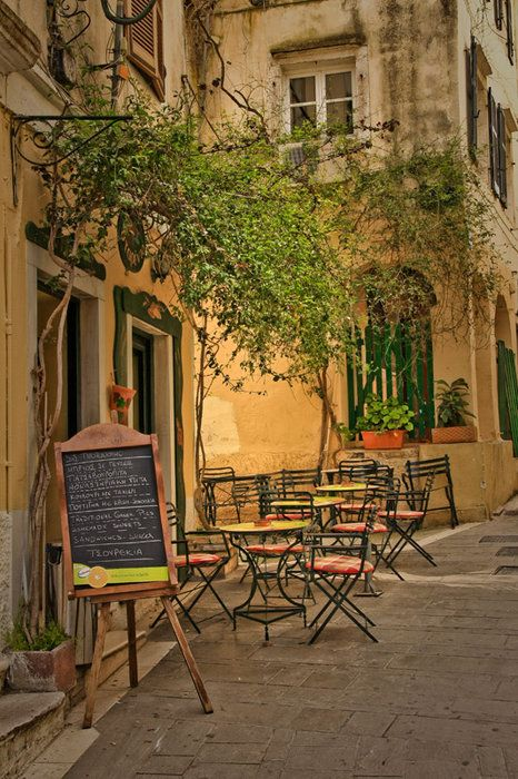 cafe on the route to the Acropolis, Athens, Greece